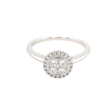 Diamond 0.32ct Halo Cluster 18ct Ring
