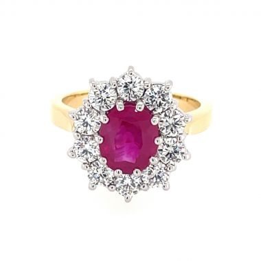Ruby & Diamond 1.64ct Cluster 18ct Ring