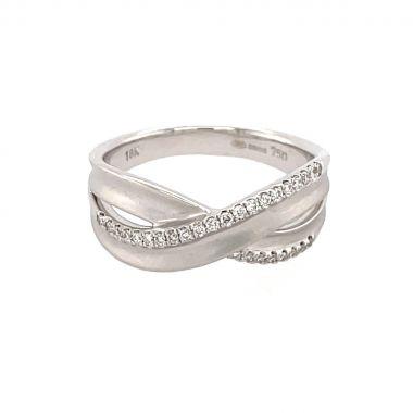 White Gold & Diamond Cross Over 18ct Ring
