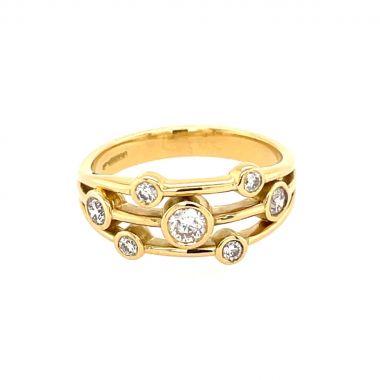 Yellow Gold Random Set Diamonds 18ct Ring
