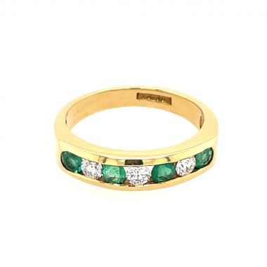 Emerald & Diamond Eternity 18ct Ring