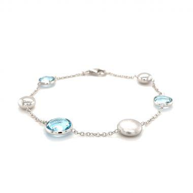 Blue Topaz & Stain Bead 9ct White Gold Bracelet