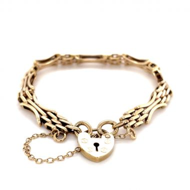 Bar Gate with Heart Lock 9ct Bracelet