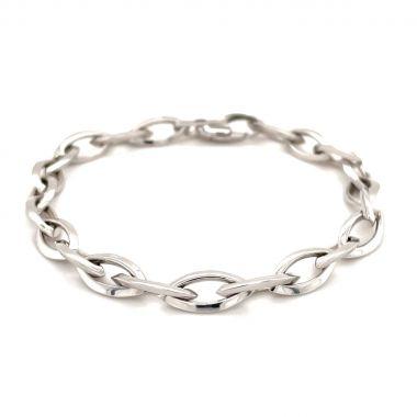 White Marquise 9ct Gold Bracelet
