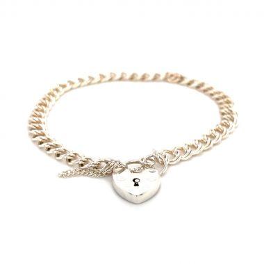 Silver 28 Double Curb Charm bracelet