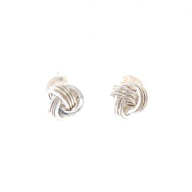 Silver Strand Knot Earrings