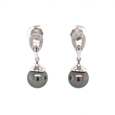 Dark Pearl & Diamond Design 18ct Earrings