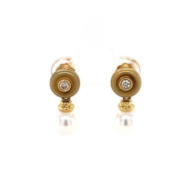 Drop Pearl & Diamond Design Earrings