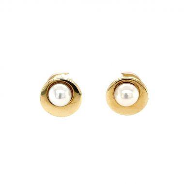 Polished Gold & Pearl Stud Earrings