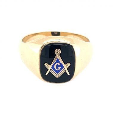 Masonic Onyx Cushion Signet Ring