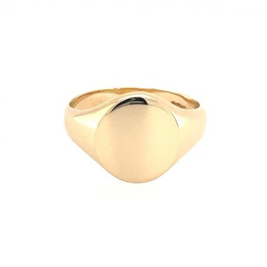 9ct Gold 11x10mm Solid Plain Oval Ladies Signet Ring