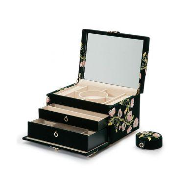 Wolf Zoe Medium Forest Green Jewellery Box