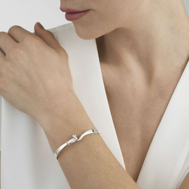 Georg Jensen Torun Bangle with Diamonds, Sterling Silver
