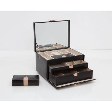 Wolf Chloe Medium Black Jewellery Box