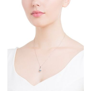 Mikimoto Akoya Pearl and Diamond Pendant in White Gold