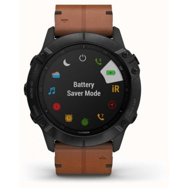 Garmin Fenix 6X Pro Sapphire - Black DLC Brown Leather Strap and Black Rubber Strap