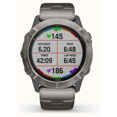 Garmin Fenix 6X Pro Solar - Titanium Bracelet and Orange Strap