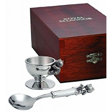 Egg Cup & Spoon Set in Wooden Gift Box